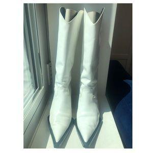 Helmet Lang White Patent Cowboy Boots